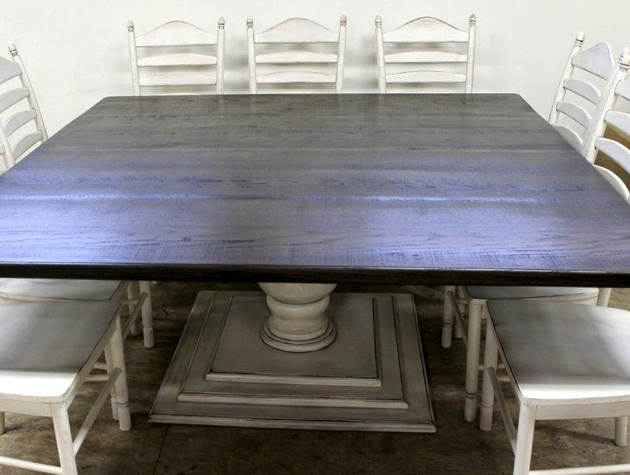 hand made square farmhouse table with tuscany pedestal by