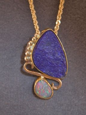 Custom Made Surface Lapis And Opal Slide Pendant