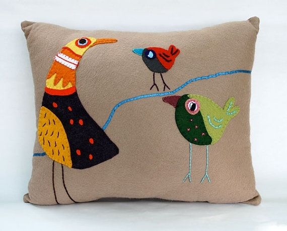 Throw Pillows With Birds : Handmade Wool Felt Bird Accent Throw Pillow by B Sings CustomMade.com
