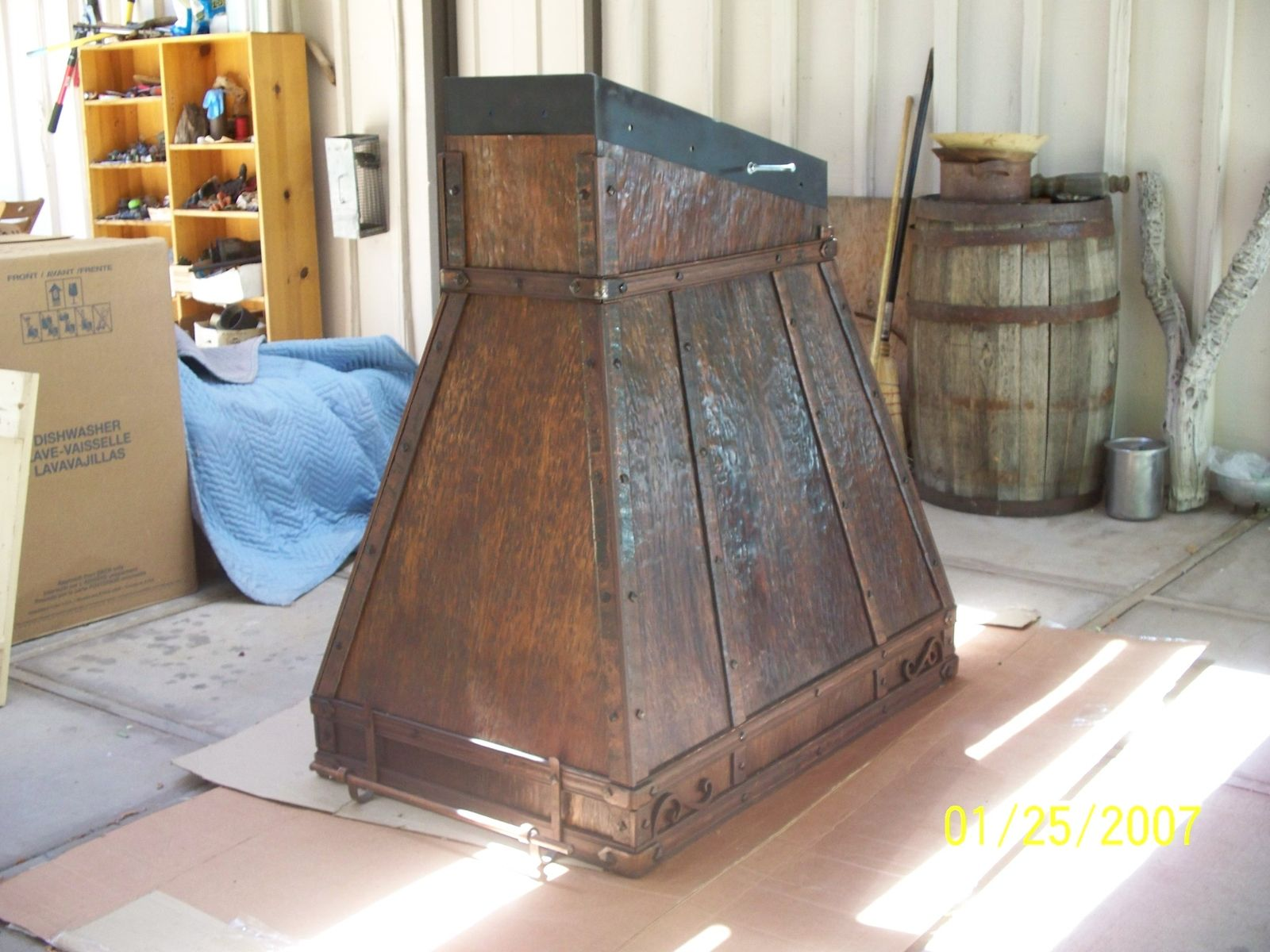 Kitchen Island Made From Reclaimed Wood Hand Crafted Metal Range Hoods In Kitchens By Cabinets