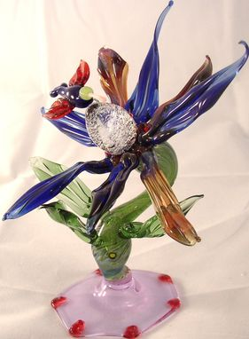 Custom Made Flower With Hummingbird Sculpture