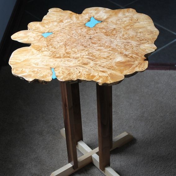 Reclaimed Live Edge Maple Coffee Table Bench Industrial: Hand Made Big Leaf Maple Burl