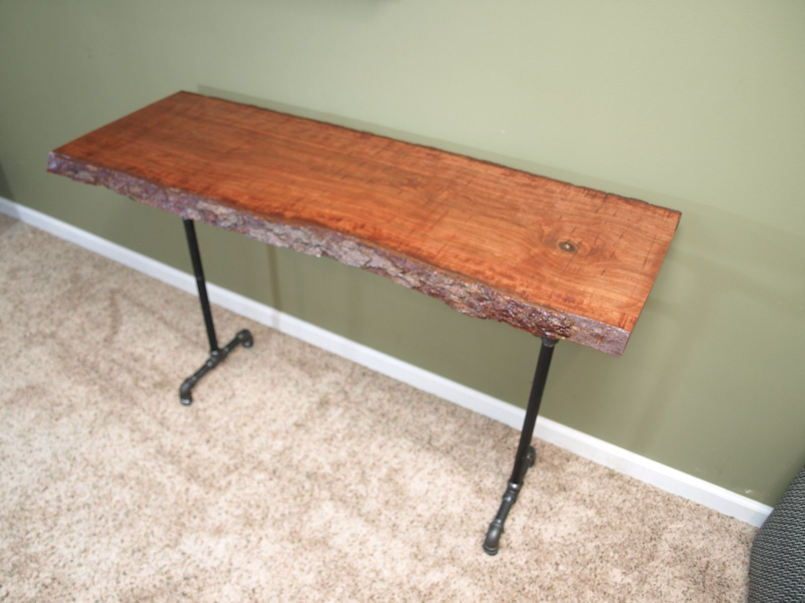 Hand crafted console table with live edge cherry slab and for Iron pipe desk