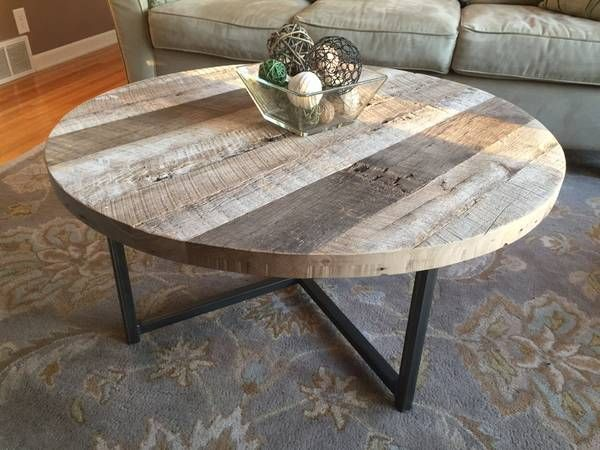 buy a hand made round reclaimed wood table with metal base made to order from ore dock design. Black Bedroom Furniture Sets. Home Design Ideas