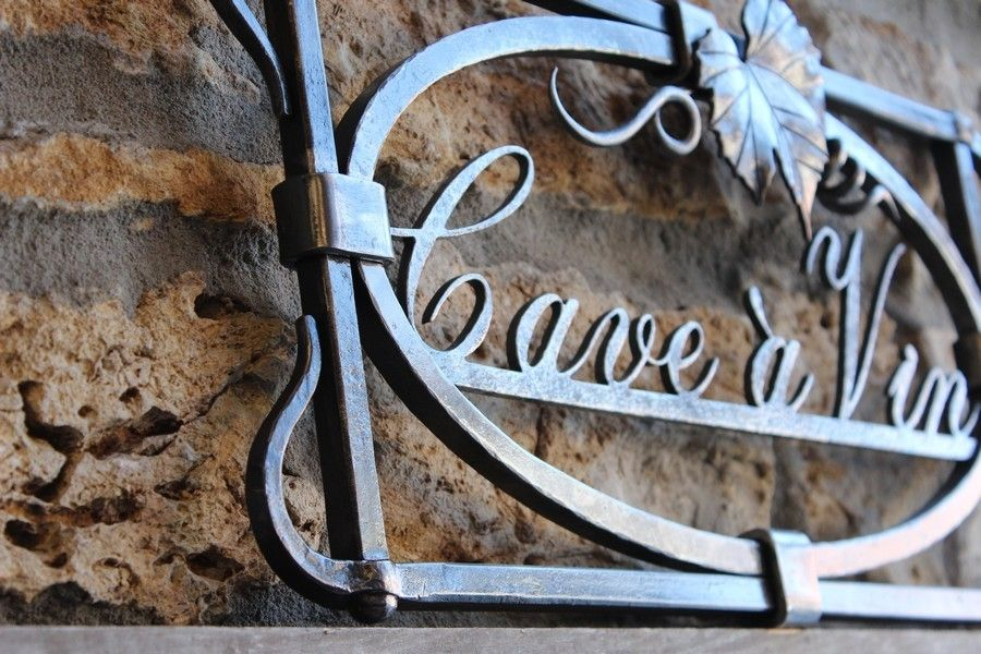 Hand made wrought iron sign cave 192 vin wine cellar by