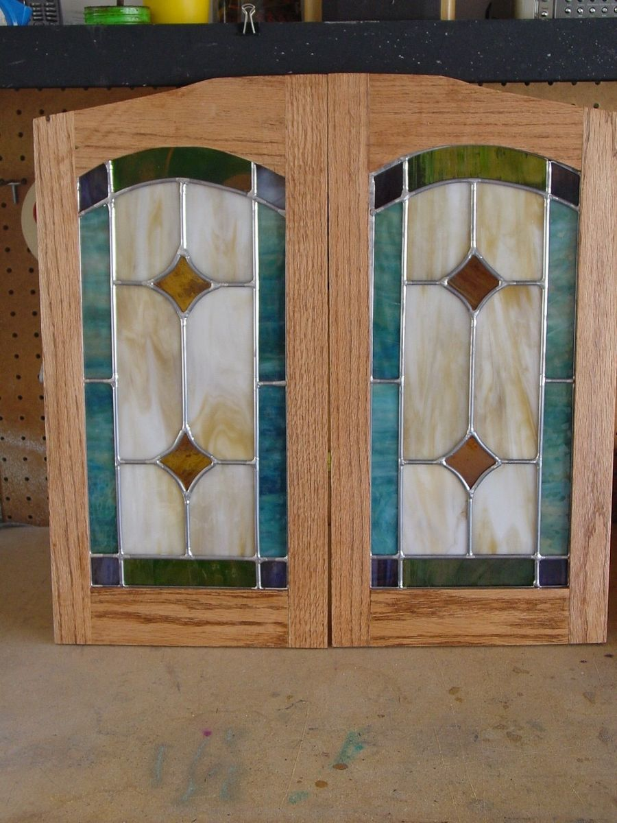 Hand made cabinet door stained glass panels by chapman for Kitchen door with window