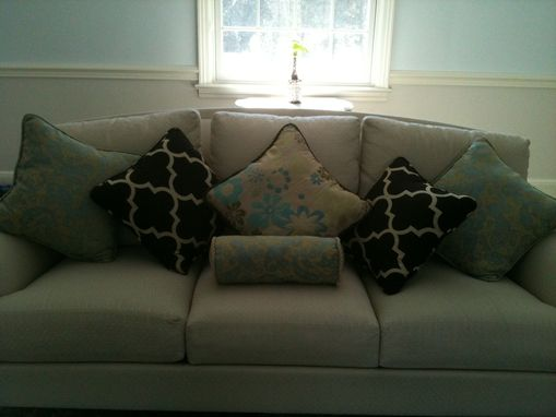 Custom Made Reupholstered Dining Rooom Armchair With Matching Pillows