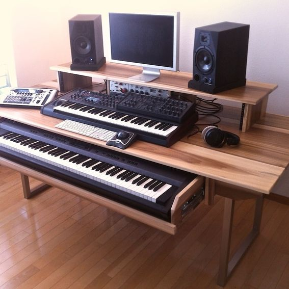 hand made audio video production desk w keyboard workstation shelf and rack units by monkwood. Black Bedroom Furniture Sets. Home Design Ideas