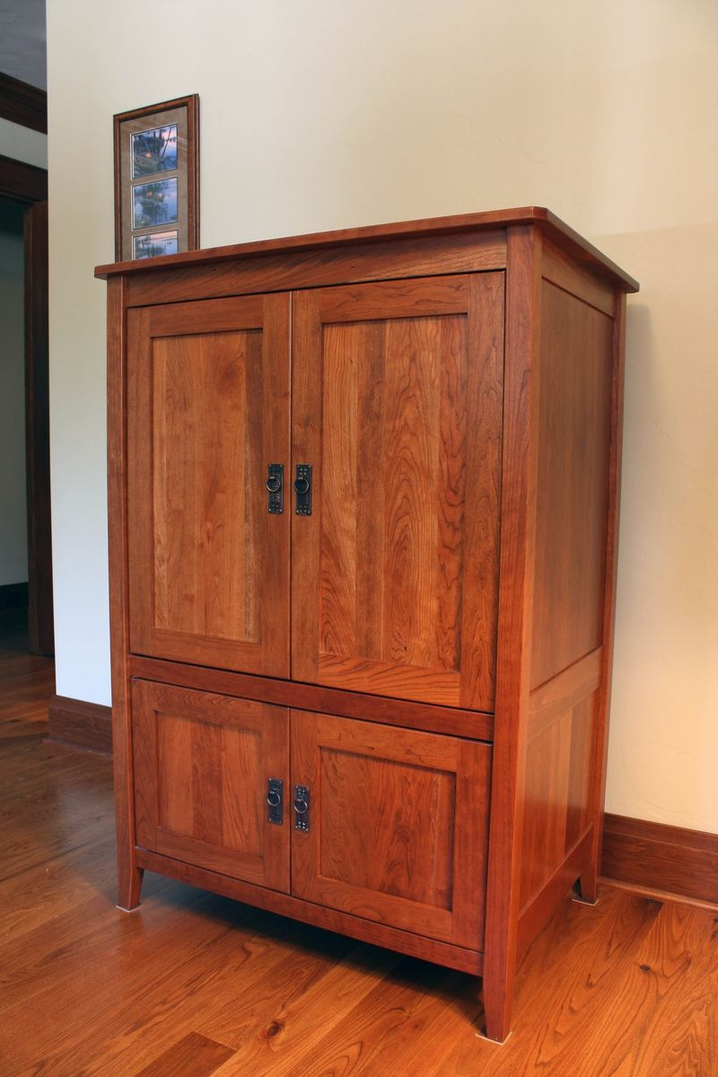 Custom armoire or media cabinet by montana cabinet canoe for Kitchen wardrobe cabinet