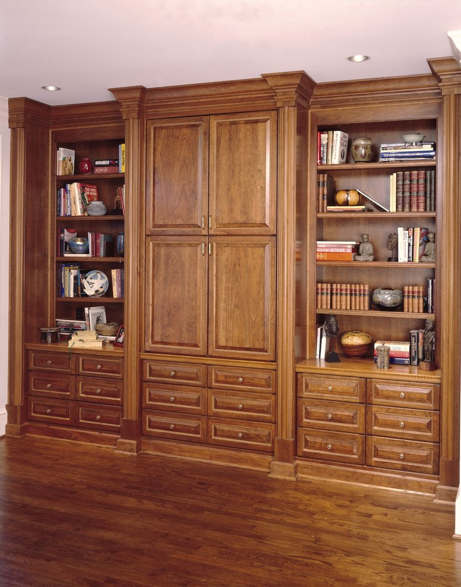 Custom Made Cherry Bookcase Amp Entertainment Center By Perfect Design Cabinetworks Llc