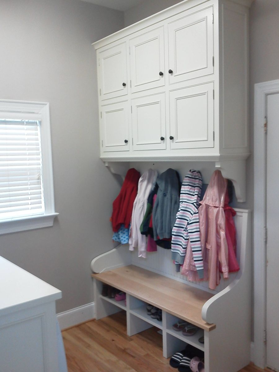 Hand Made Built In Laundry Room Cabinets And Bench By Brandon Parrow Cabinetmakers