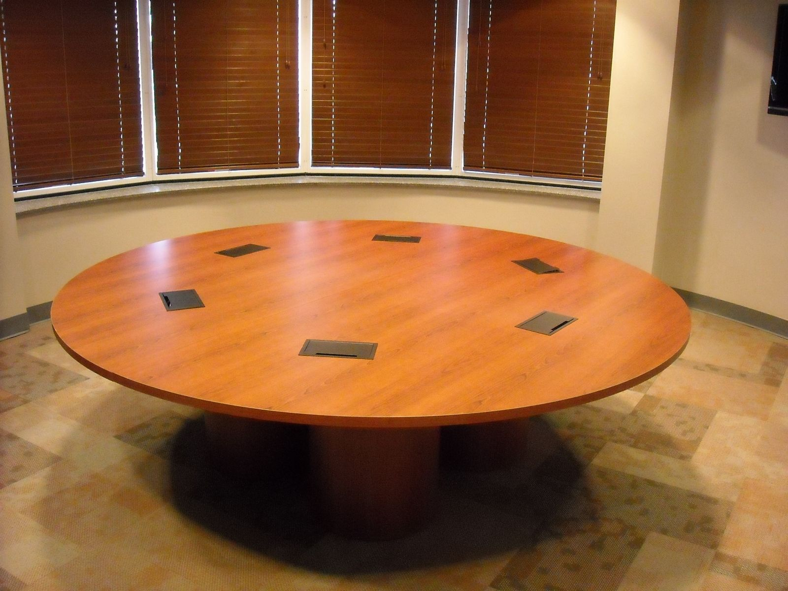 Hand Crafted 8 Ft Diameter Laminate Conference Table By
