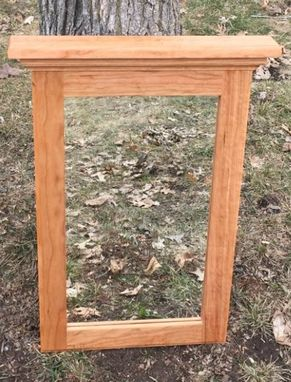 Custom made natural cherry wood framed mirror cherry wood bedroom mirror hallway mirror for Cherry wood framed bathroom mirrors