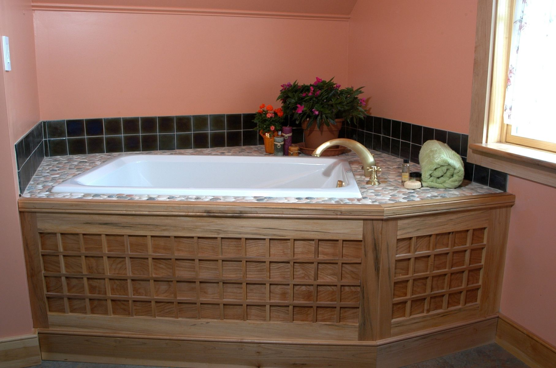 Handmade soaking tub surround by homecoming woodworks custommade com