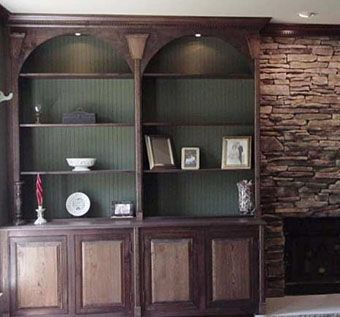 Custom Made Walnut And Oak Library / Wall Unit