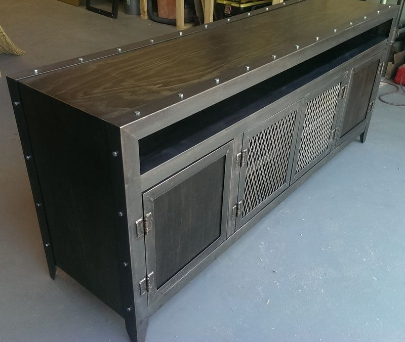 Buy A Custom Industrial Media Console Made To Order From Industrial Evolution Furniture Co