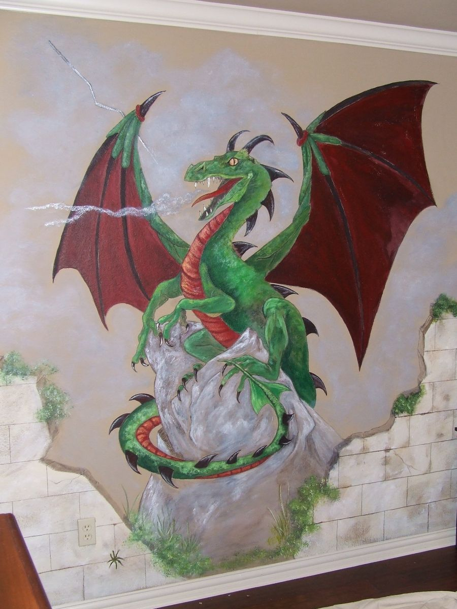 Hand Crafted Dragon Mural By Muralization Custommade Com