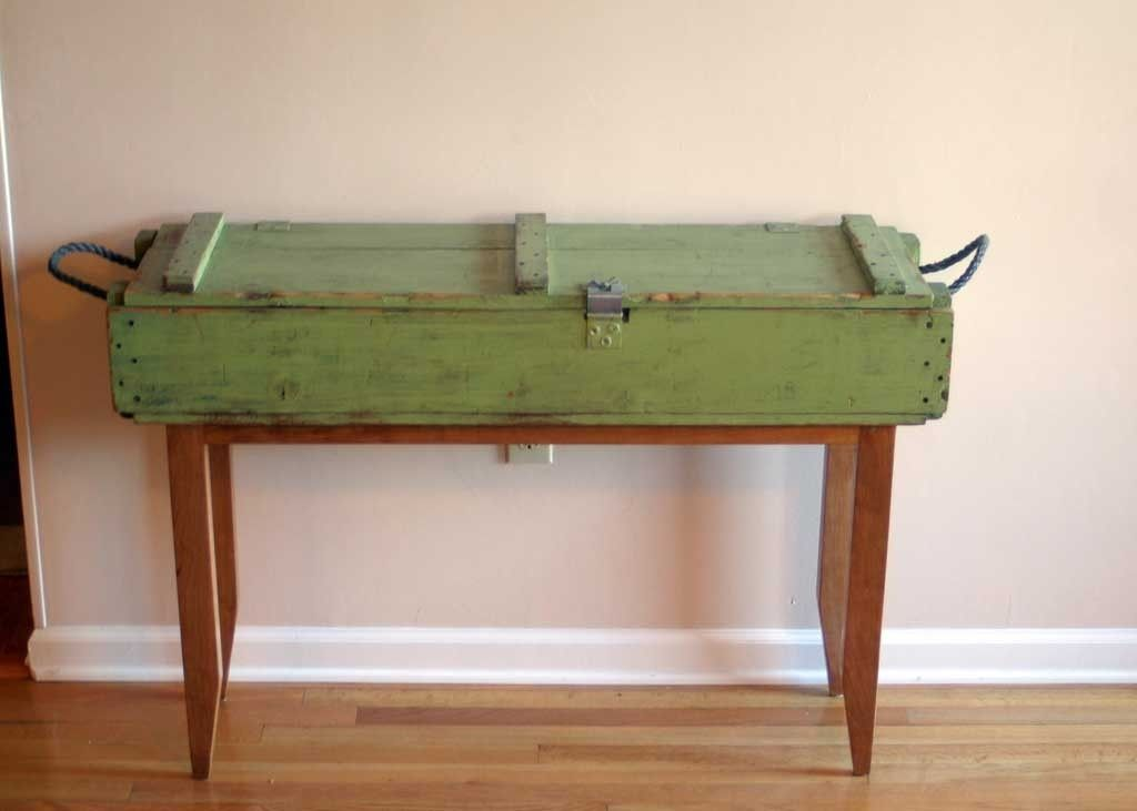 Handmade Reclaimed Cherry And Ammunition Box Hall Table By