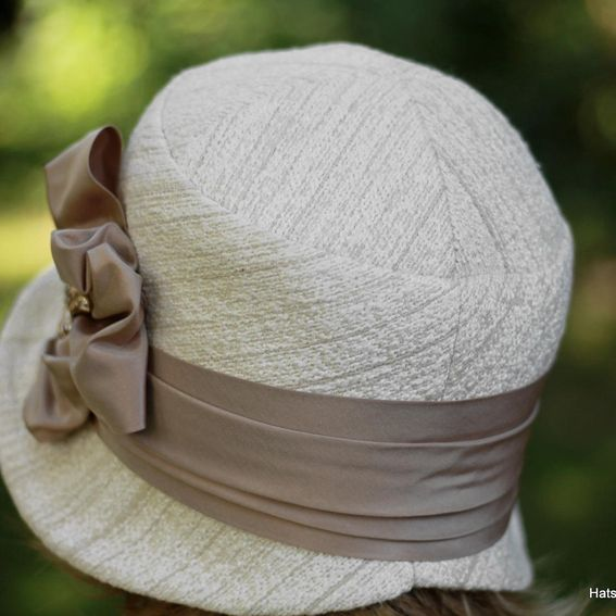 Buy A Hand Crafted 1920 S Cloche Hat In Ivory And Taupe