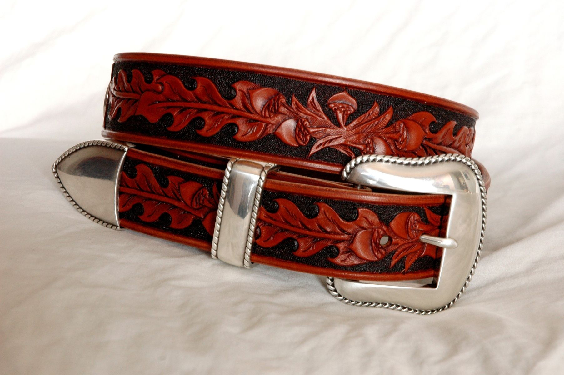 custom made tooled leather belt your size by lone