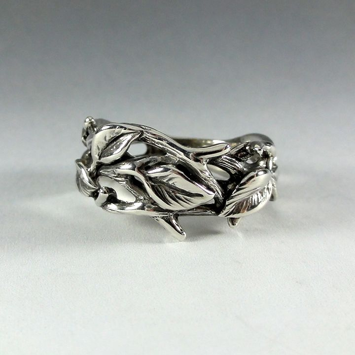 buy a custom made sterling silver leaf and twig band ring