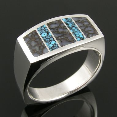 Custom Made Dinosaur Bone And Spiderweb Turquoise Inlay Ring