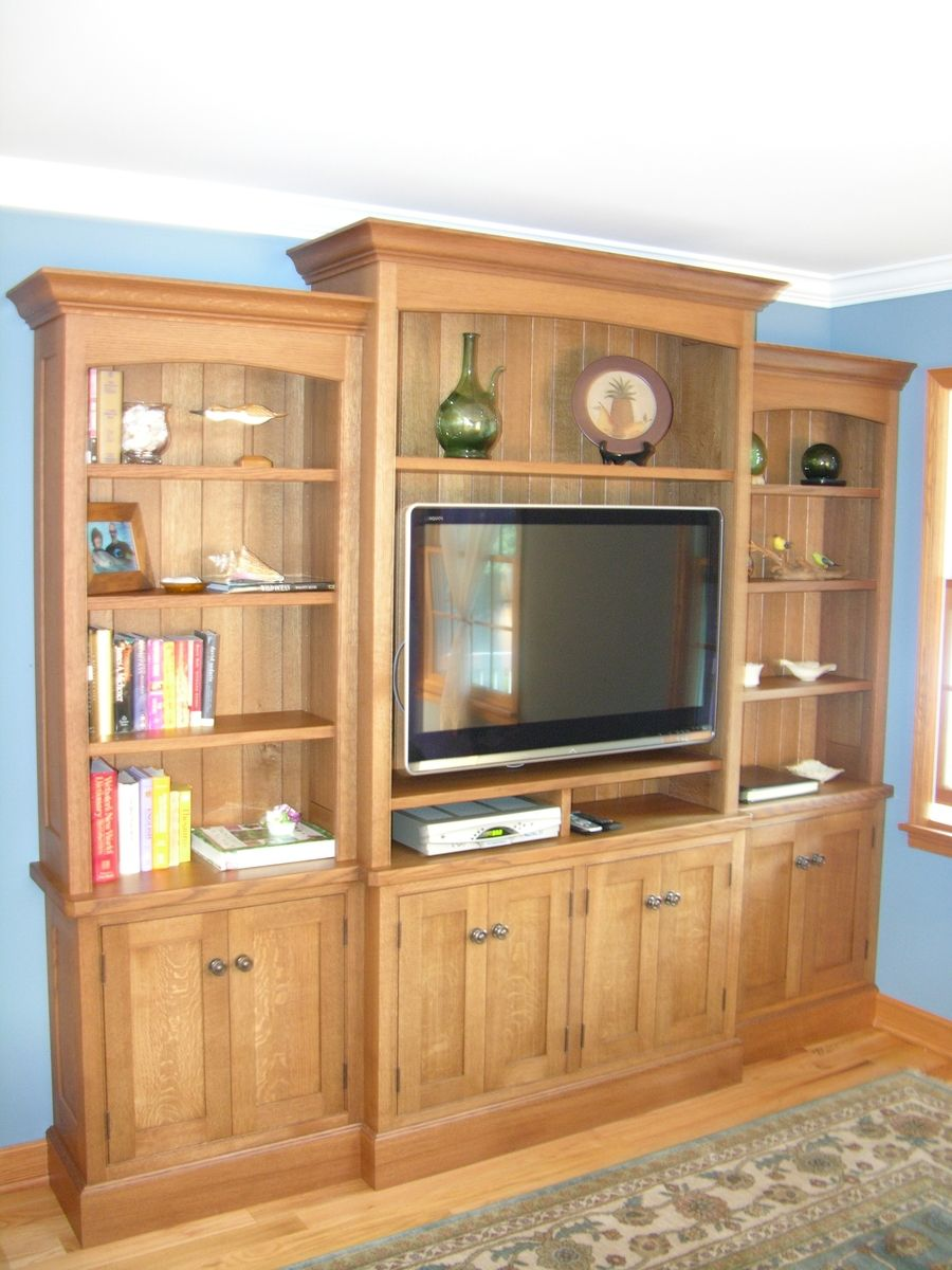 Custom Made White Oak Entertainment Center By Norman