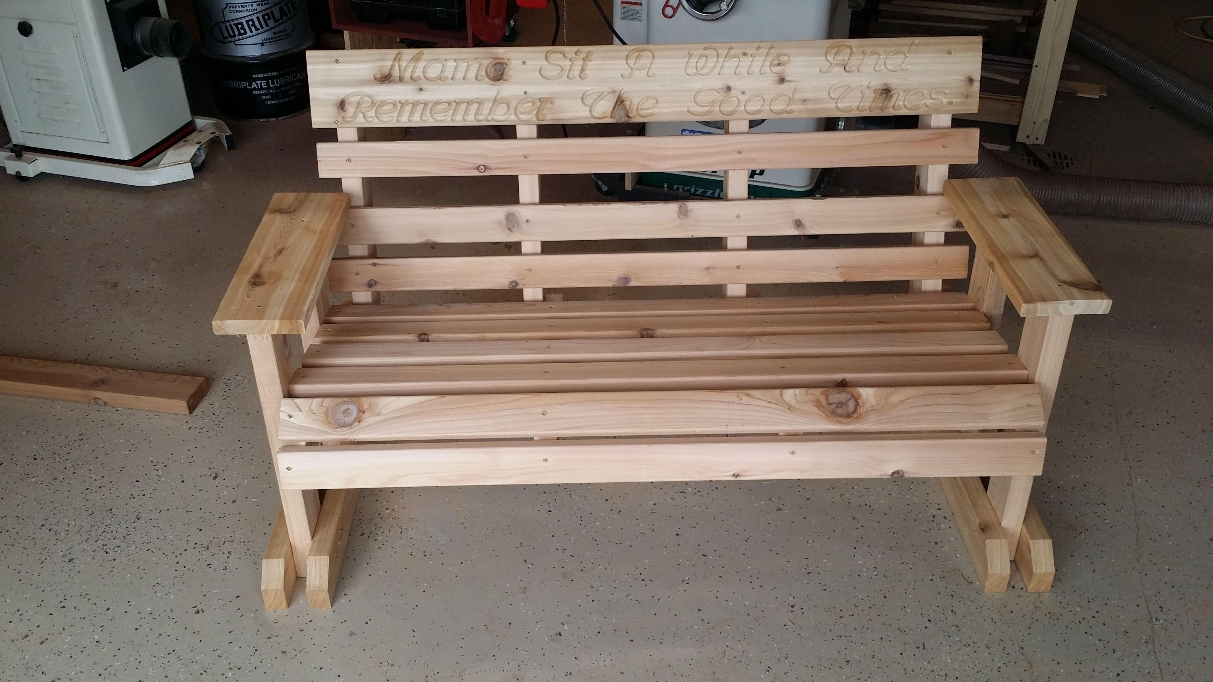 Hand Made Cedar Memorial Garden Bench By All Things Wood