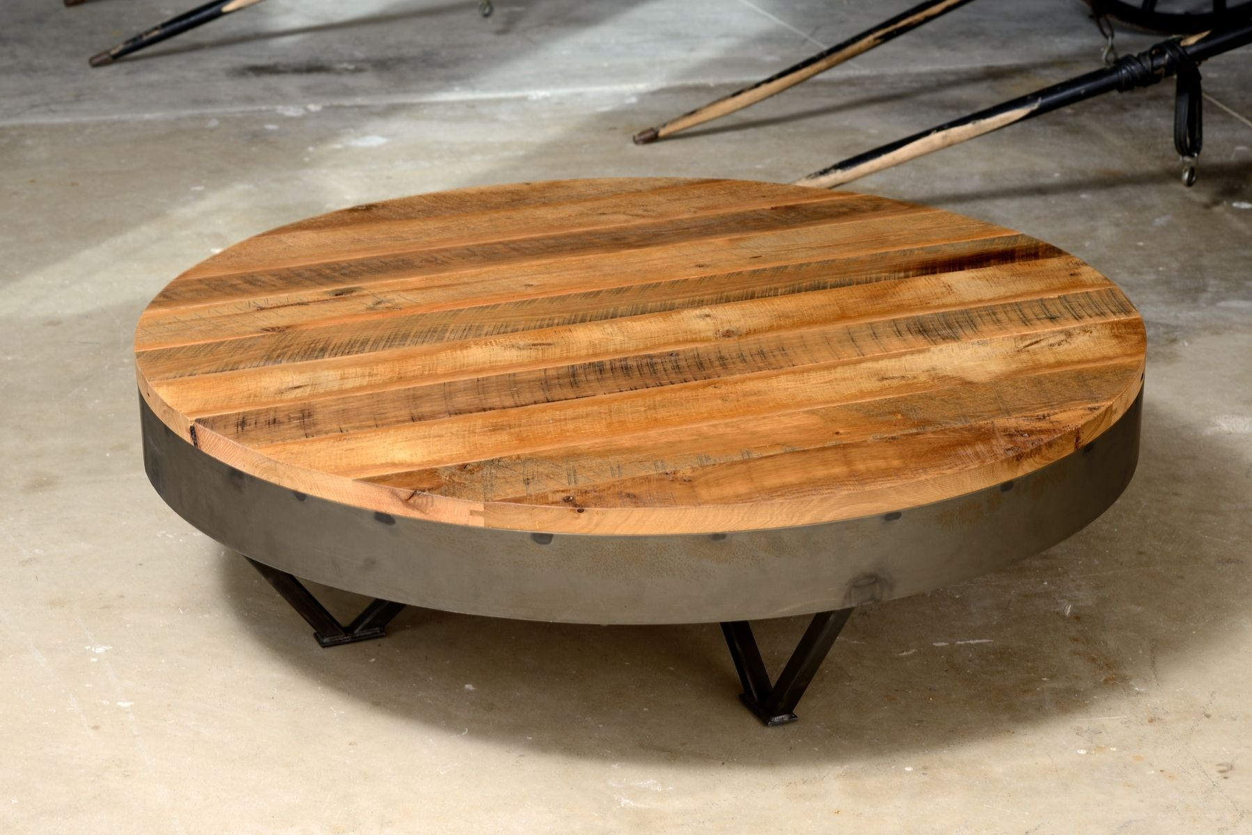 Custom Reclaimed Barn Wood Coffee Table 36 Round 48 Round By Ron Corl Design Ltd