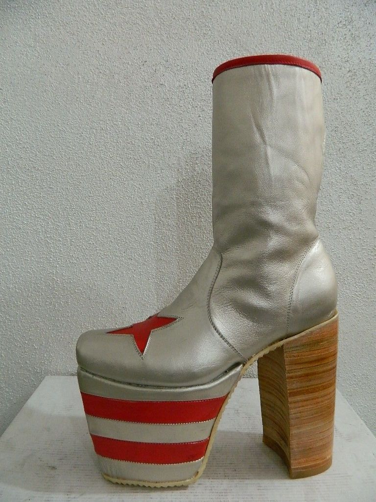 Hand Made Men Glam Platform Genuine Silver Leather Boots
