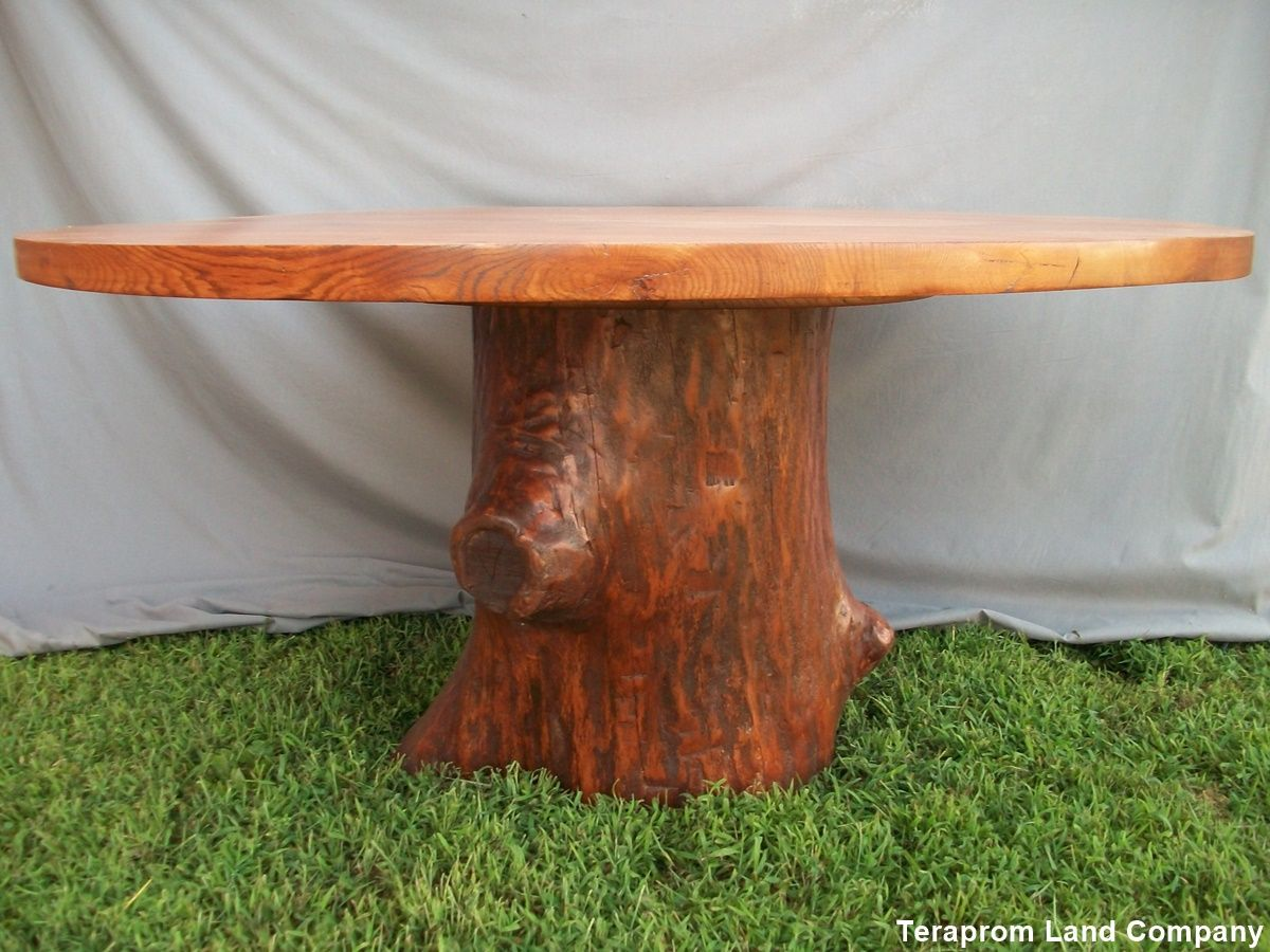 Hand made 60 oak tree stump pedestal dining table by for Tree root dining table