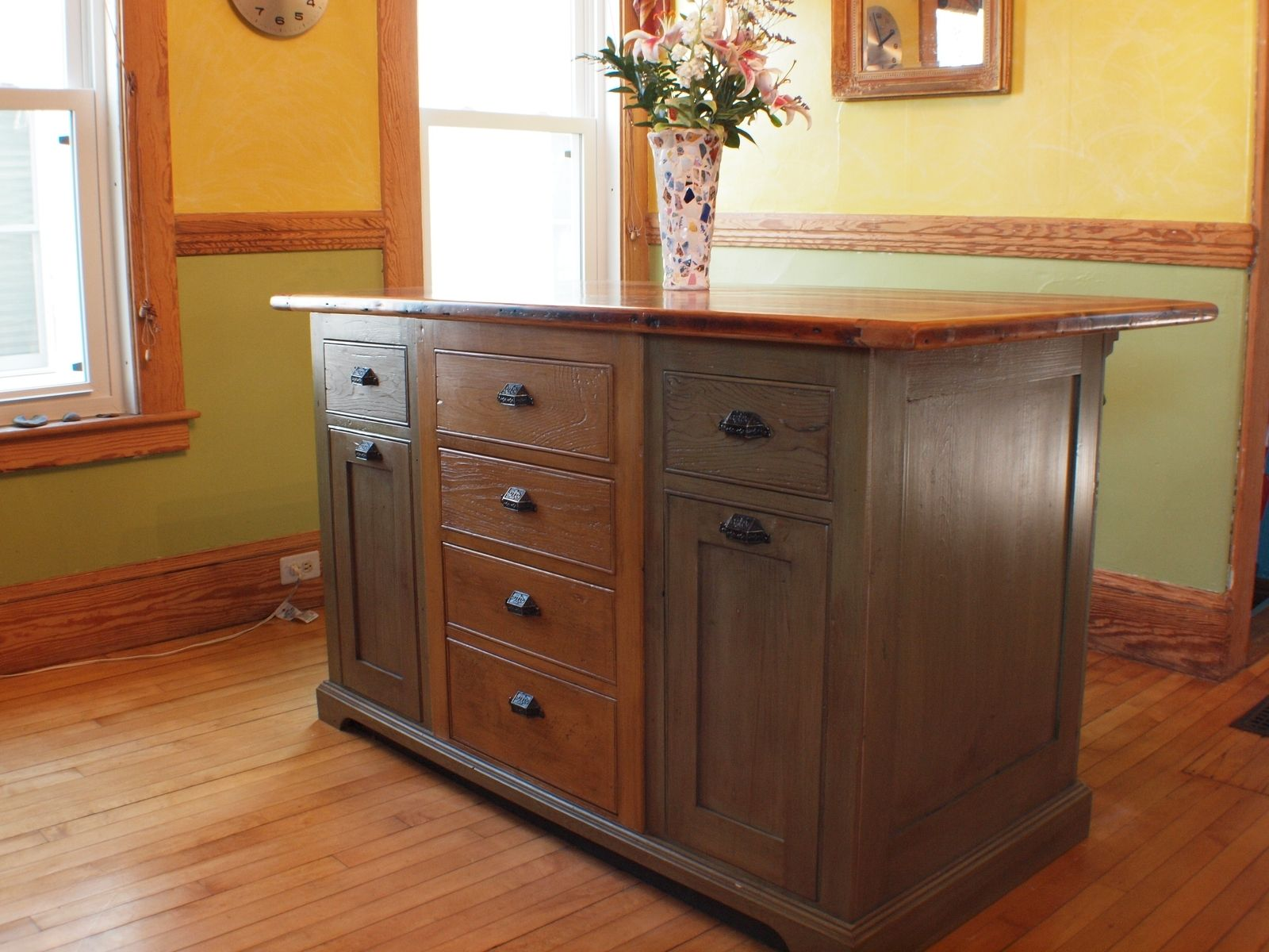 Handmade rustic kitchen island with wood top by rustique for Custom made kitchen islands