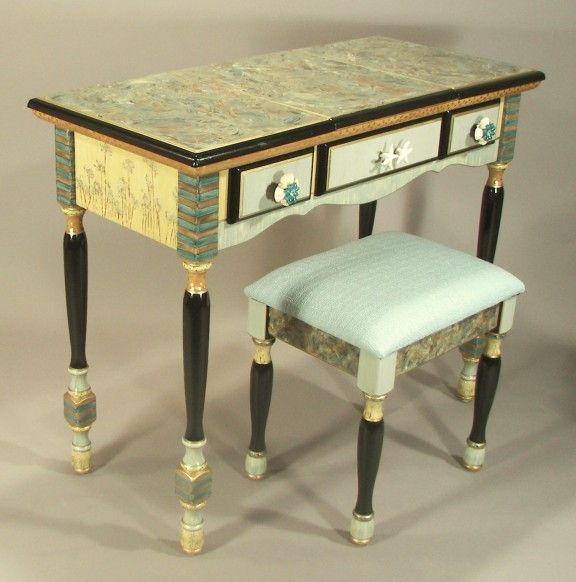 Handmade Hand Painted Vanity Desk With Stool By Suzanne