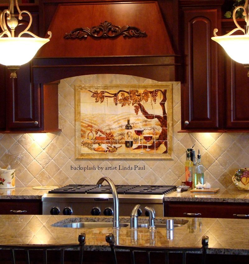 Hand made the vineyard kitchen backsplash tile mural by for Backsplash tile mural