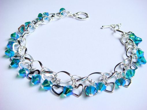 Custom Made Teal Love Swarovski Bracelet With Hearts