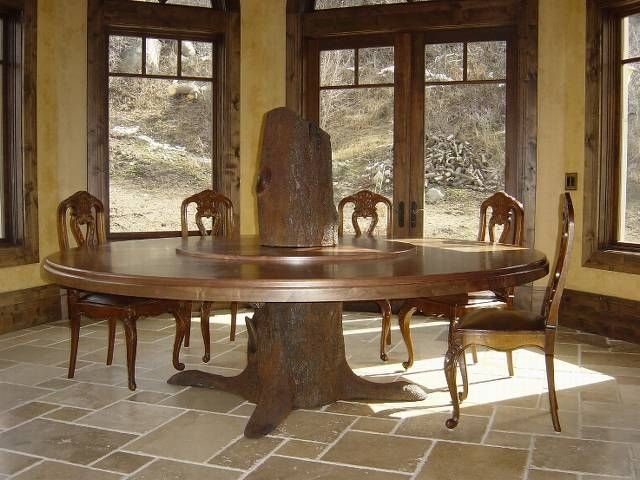 Hand crafted tree trunk dining table fabricated metal for Tree trunk dining table