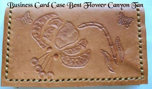 Custom Made Custom Leather Business Card Case With Bent Flower Design In Canyon Tan Color