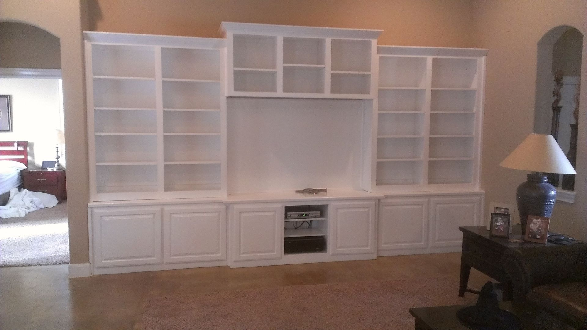 Hand made white wall unit by top quality cabinets for Lounge units designs
