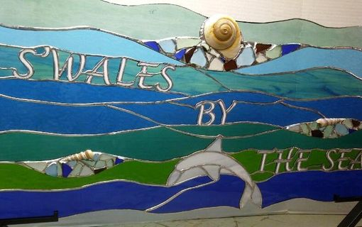 Custom Made Stained Glass Window Hanging - Sea Glass, Dolphin And Sea Shells (P-20)