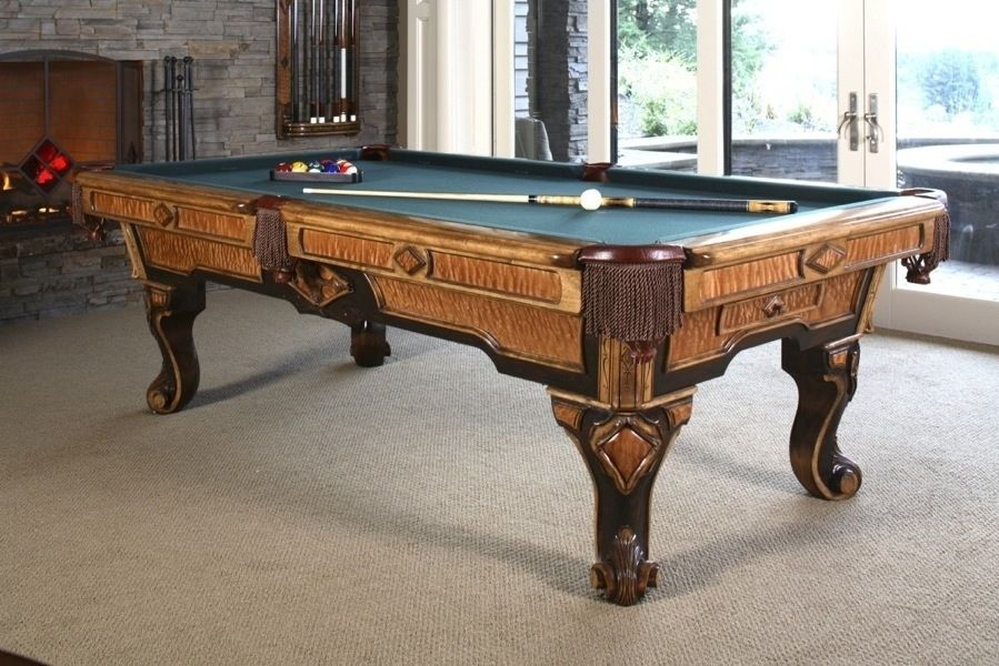 Hand Crafted Maple Pool Table Featuring Inlaid Quilted