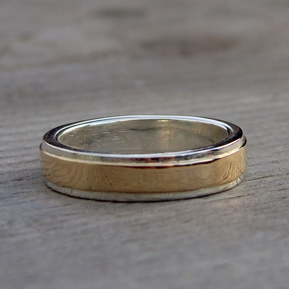 Hand Made Recycled Sterling Silver And 14k Yellow Gold Layered Two Tone Wedding Band By