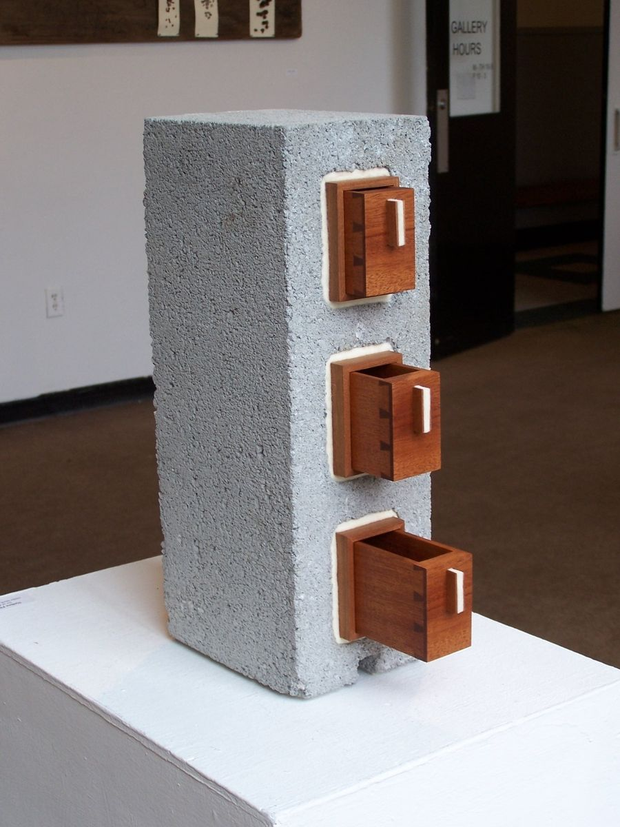 Hand Crafted Cinder Block Chest Of Drawers By Foss