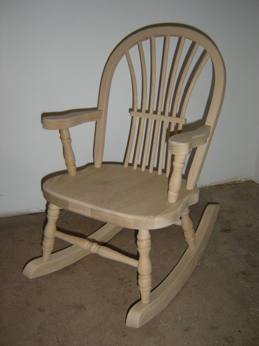 Custom New Solid Oak Wood Childrens White Rocking Rocker