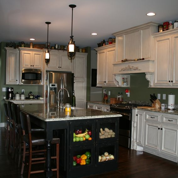 Hand Crafted Custom Painted Kitchen Cabinets With Stained