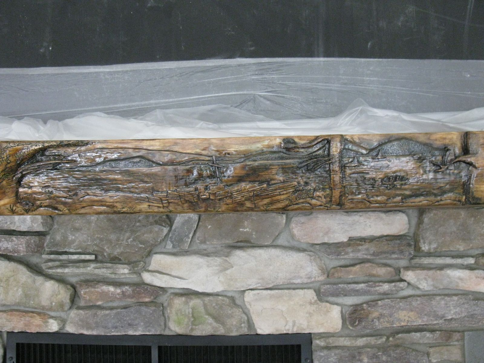 Buy a custom made relief carved pine mantle to order