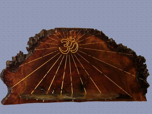 Custom Made Walnut Burl Wall Altar With Om Engraving And Slate Shelve