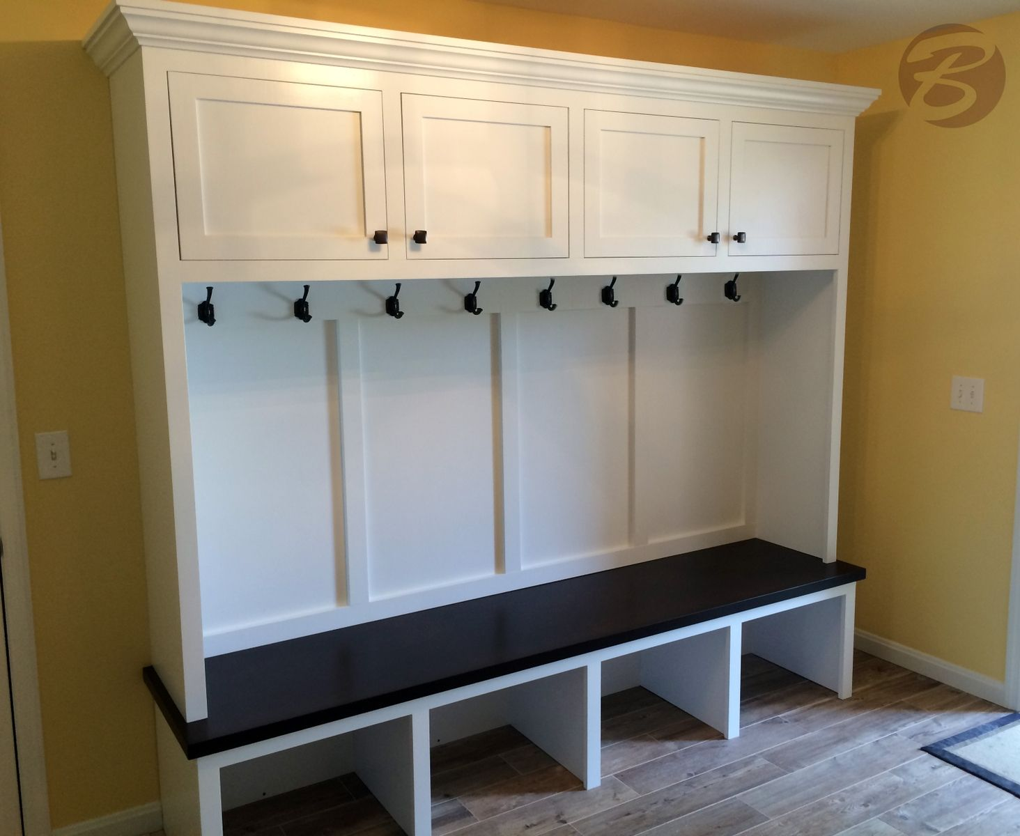 handmade mudroom entryway bench and storage by boltonwoodworking