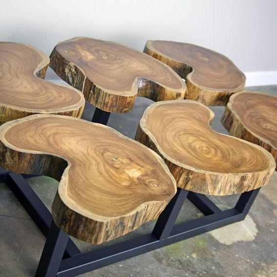 Vintage Handmade Slab Wood Coffee Table From: Buy A Hand Crafted Funky Coffee Table, Natural Teak Wood