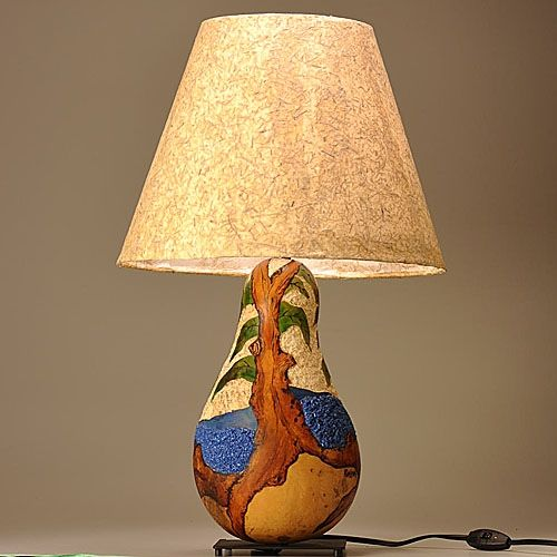 Custom Made Gourd Lamp Arbutus Tree Design By Gourgeous