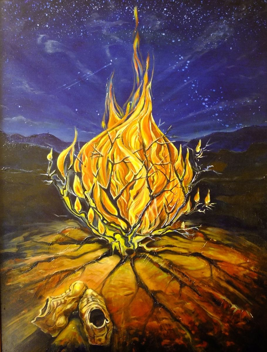 Hand Crafted Oil Painting The Burning Bush By Tandem Art Studio